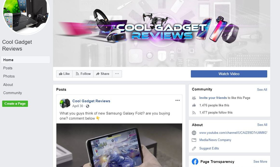 Facebook Fan Page Example