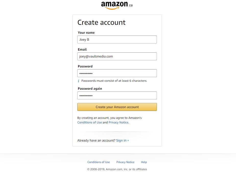 Amazon account signup