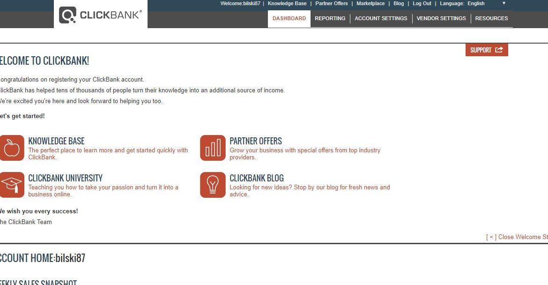 clickbank dashboard