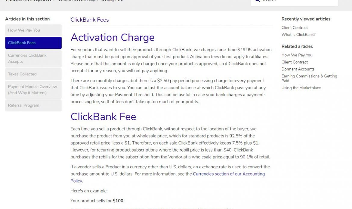 Clickbank affiliate fees