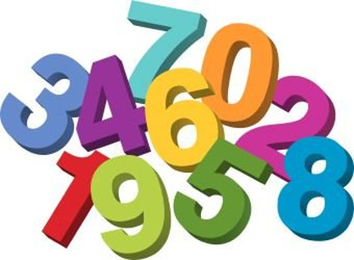 a group of cartoon numbers