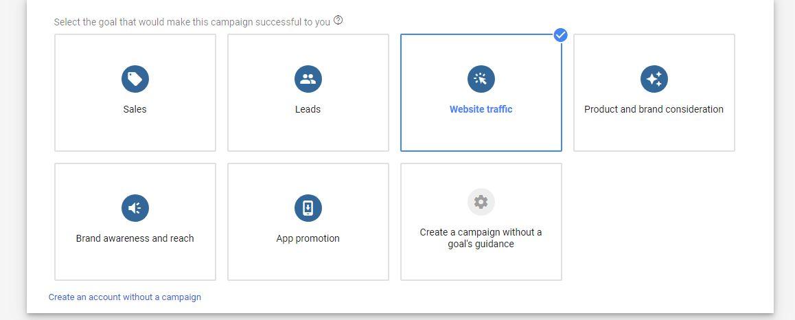 Google ads goal types
